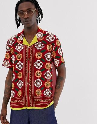 Asos Design DESIGN regular sheer embroidered shirt