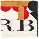 Burberry patterned logo scarf - women - Modal/Wool - One Size