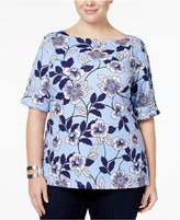 Karen Scott Plus Size Floral-Print Boat-Neck Top, Only at Macy's