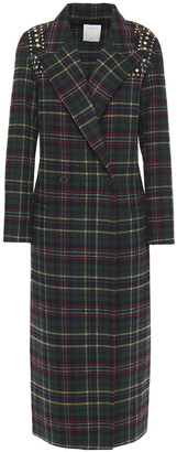 Sandro Double-breasted Studded Checked Wool-blend Felt Coat
