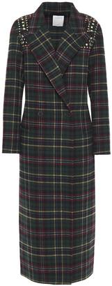Sandro Tiles Double-breasted Studded Checked Wool-blend Felt Coat