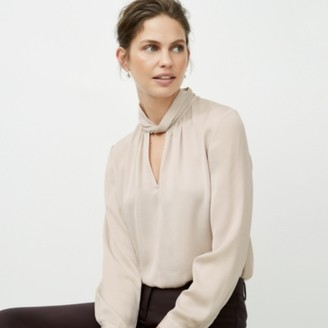 The White Company Twist-Neck Blouse with Sleeves, Champagne, 6