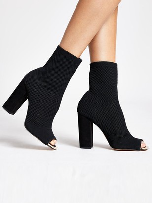 River Island Wide Fit Stretch Knit Sock Boot - Black