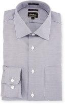 Neiman Marcus Trim-Fit Check Dress Shirt, Blue/Brown