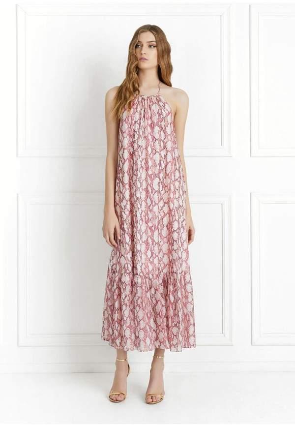Rachel Zoe Harriet Snakeskin Printed Silk Chiffon Maxi Dress