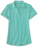 L.L. Bean L.L.Bean Womens West End Fitted Polo, Short-Sleeve Splitneck Stripe