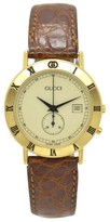 Gucci 3800 Jr Gold Plated & Leather Date White Dial Quartz 29mm Mens Watch