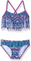 Kanu Surf Big Girls' Carrie Tribal Fringe Bikini Swimsuit