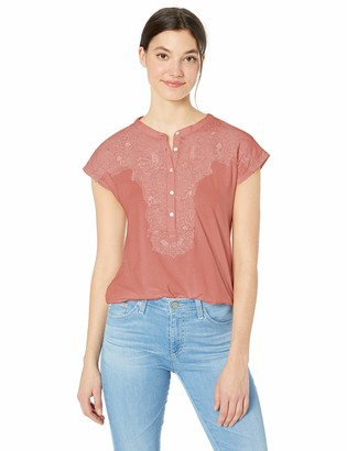 Lucky Brand Women's Washed Applique Henley TOP
