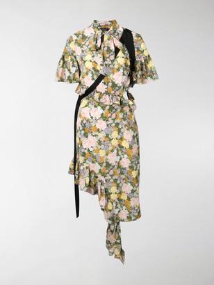 Rokh Floral Ruffle Midi Dress