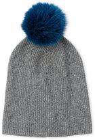 Sofia Cashmere Real Fur Pom-Pom Beanie