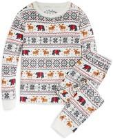 PJ Salvage Girls' Holiday Reindeer Brushed Thermal Pajama Set