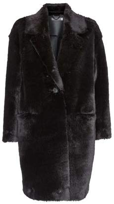 Mint Velvet Black Faux Fur Easy Coat