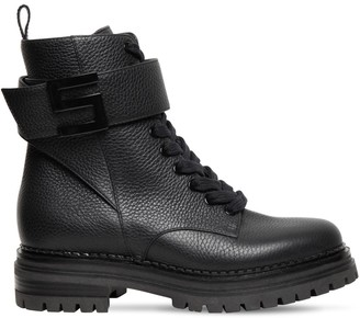 Sergio Rossi 40mm Tumbled Leather Combat Boots