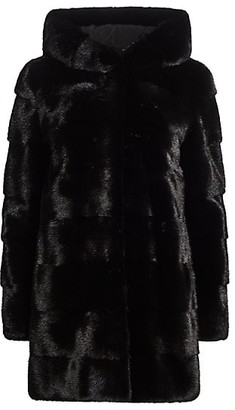 The Fur Salon Norman Ambrose For Hooded Mink Fur Coat