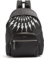 Neil Barrett Lightning-bolt leather-trimmed nylon backpack