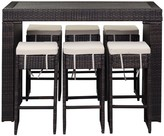 The Well Appointed House Woven Rattan Outdoor Parsons Style Bar Set with 6 Chairs in Brown - CURRENTLY ON BACKORDER UNTIL MID OF JANUARY 2017