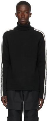 we11done Black and White Wool Logo Stripe Turtleneck