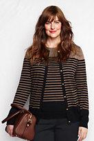 Lands' End Women's Plus Size Supima Pocket Cardigan Sweater-Silver/Black Flock Dot