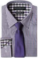 Nick Graham Men's Modern Fitted Gingham Dress Shirt & Solid Tie Set