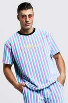 MAN Signature Velour Stripe T-Shirt & Short Set