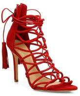 Schutz Valquis Suede Lace-Up Cage Sandals
