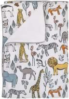 DwellStudio Dwell Studio Safari Animal Print Double Sided Cotton/Velour Blanket, Gray/Yellow/Orange