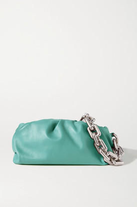 Bottega Veneta The Chain Pouch Gathered Leather Clutch - Blue