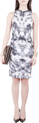 McQ Grey Mirrored Iris Print Jersey Sleeveless Bodycon Dress XS