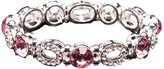 Pink and Silver Plated Crystal Stretch Bracelet - Pink Bridesmaid Jewelry
