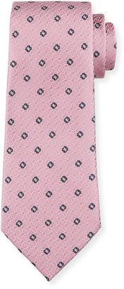 Ermenegildo Zegna Men's Jacquard Squares Silk Tie, Pink