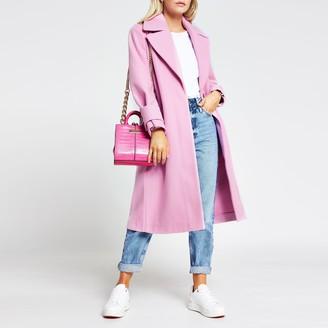 River Island Womens Petite Pink long line cuff detail coat