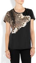 Roberto Cavalli Printed silk-twill T-shirt