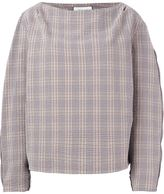 Lemaire checked boat neck blouse