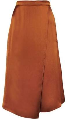 Vince Asymmetric Wrap-effect Silk-satin Skirt