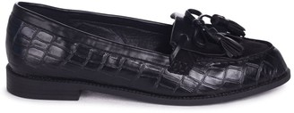 Linzi NELLE - Black Croc Suede Classic Loafer with Bow Fringing