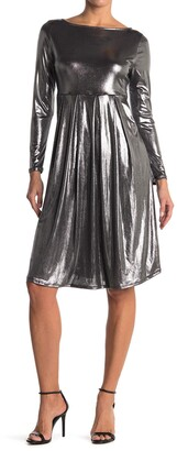WEST KEI Metallic Pleated Long Sleeve Dress