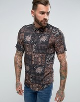 Asos Regular Fit Viscose Shirt With Vintage Print