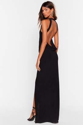 Nasty Gal Womens Cowl Back Later Slit Maxi Dress - Black