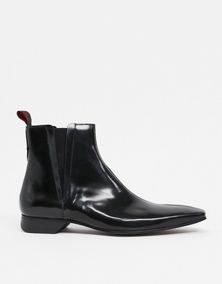 Jeffery West Escobar chelsea boot in black high shine leather