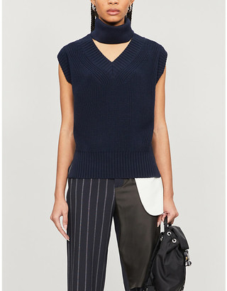 Sacai Turtleneck cut-out sleeveless knitted jumper