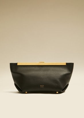 KHAITE The Aimee Clutch in Black Leather