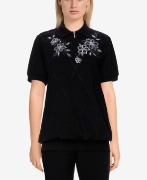 Thumbnail for your product : Alfred Dunner Women's Missy Easy Living Casual Floral Embroidered Pullover Top
