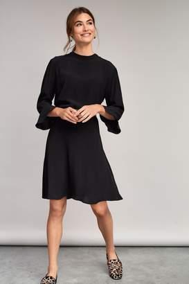 Next Womens Black Flute Sleeve Dress - Black