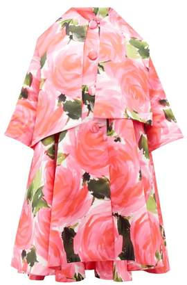 Richard Quinn Rose Print Trapeze Satin Overcoat - Womens - Pink Multi