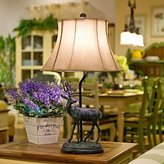 mingming Table Lamps mingming American Country Style Elk Table Lamp, One Light, Resin and Parchment