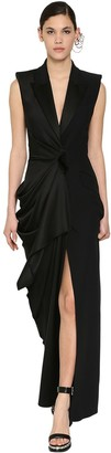 Alexander McQueen Long Leaf Draped Crepe & Satin Dress