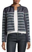 Armani Collezioni Horizontal-Striped Zip-Front Jacket, Slate/Seashell