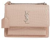 Saint Laurent Medium Sunset Croc Embossed Leather Shoulder Bag - Beige