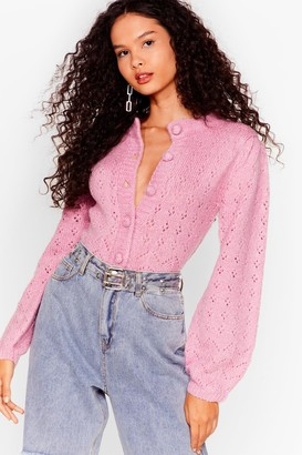 Nasty Gal Womens If You Want Knit Pointelle Cropped Cardigan - Pink